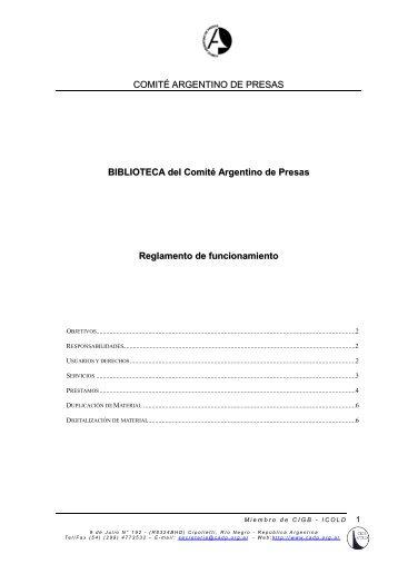 COMITÉ ARGENTINO DE PRESAS BIBLIOTECA del ... - Cadp.org.ar