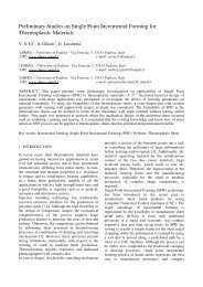 Preliminary Studies on Single Point Incremental Forming for ...