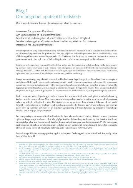 Bilag 1. Om begrebet »patienttilfredshed« - Sundhedsstyrelsen