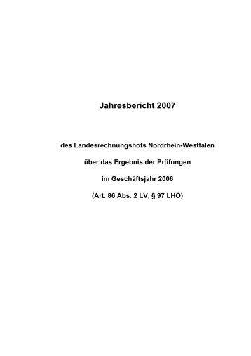 Jahresbericht 2007 des Landesrechungshofs Nordrhein-Westfalen