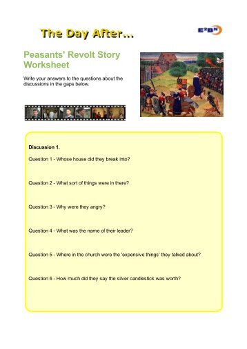 Peasants' Revolt Story Worksheet - The Day After - E2BN