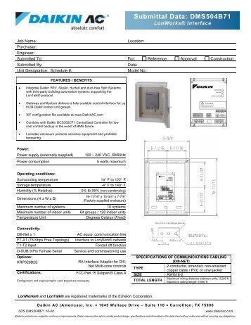 Submittal Data: DMS504B71 - Daikin AC