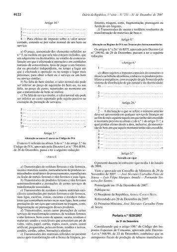 Portaria n.º 1630/2007 - Portal das Finanças