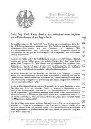 Pressemitteilung vom 23.4.09 zum Girls' Day der SPD ...