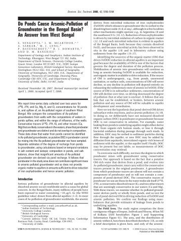 Do Ponds Cause Arsenic-Pollution of Groundwater in the Bengal ...