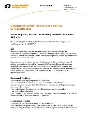 Magisterprogram i ledarskap och arbetsliv, 60 hp (pdf 67 kB)