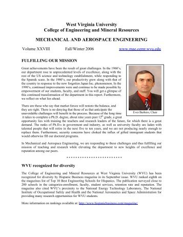 2005 Fall - Mechanical and Aerospace Engineering - West Virginia ...