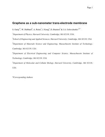Graphene as a sub-nanometer trans-electrode membrane