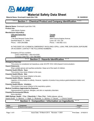 Material Safety Data Sheet - Northland Construction Supplies