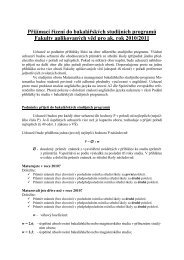Podmínky k přijetí ke studiu v bakalářských programech pro ...