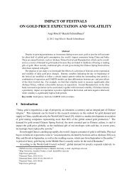 impact of festivals on gold price expectation and - International ...