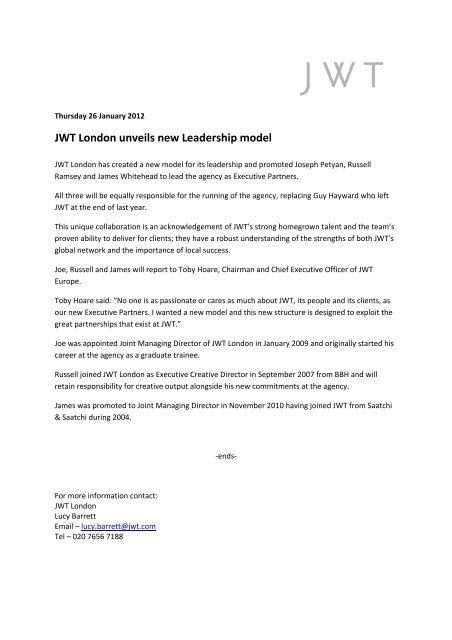JWT London unveils new Leadership model - WPP com