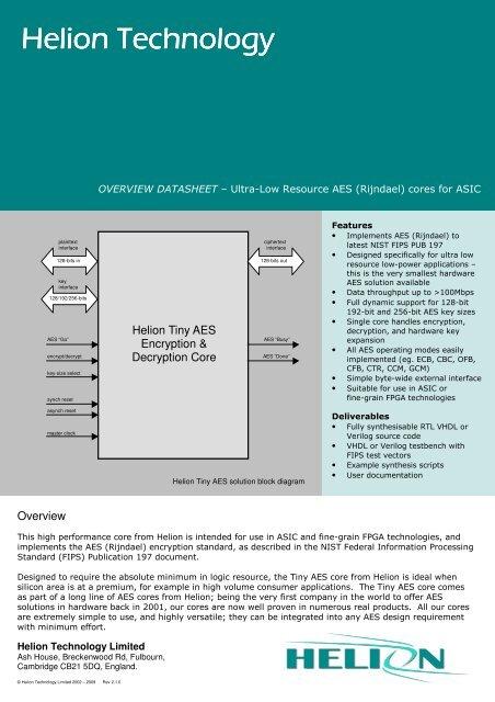 AES ASIC core datasheet - Helion Technology Ltd