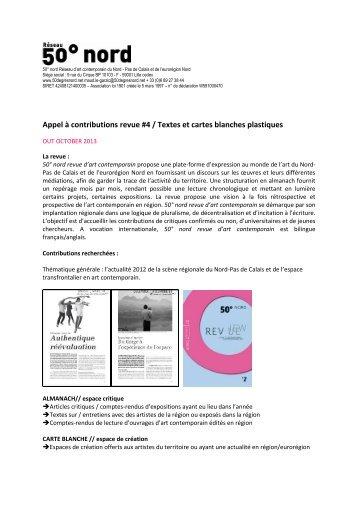 Appel à contributions revue #4 / Textes et cartes blanches ... - Cipac