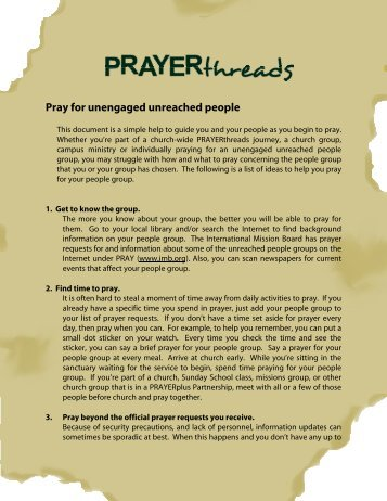 Pray for unengaged unreached people