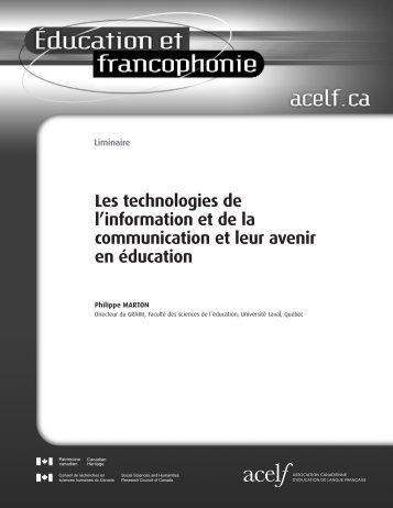 Éducation et francophonie, vol. XXVII, n o 2, automne 1999 - acelf