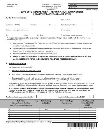 Printables Fafsa Independent Verification Worksheet verification worksheet for independent students financial aid 2009 2010 aid