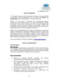 02 September 2011 STAFF VACANCIES The ... - EIOPA - Europa