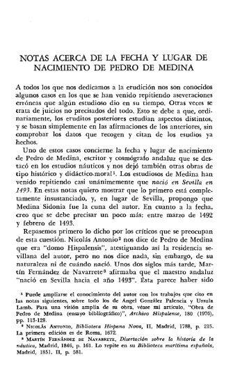 Notas acerca de la fecha y lugar de nacimiento de Pedro de Medina