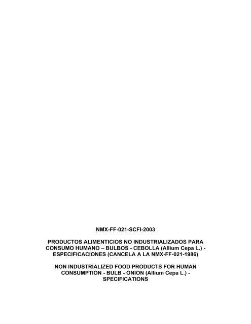 NMX-FF-021-SCFI-2003 PRODUCTOS ALIMENTICIOS NO ...