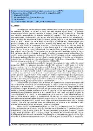 GPS A. Santamaría-Gómez (1,2), M.-N. Bouin (3) - Recherche - Ign