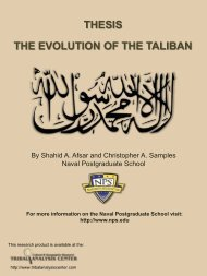 THESIS THE EVOLUTION OF THE TALIBAN - Tribal Analysis Center