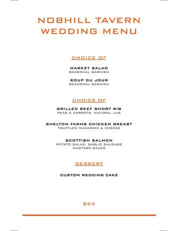 NOBHILL TAVERN WEDDING MENU - MGM Grand