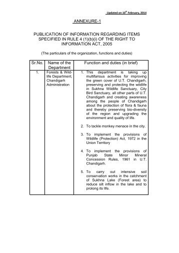 (1)(b)(i) OF THE RIGHT TO INFORMATION ACT, 2005 ... - Chandigarh