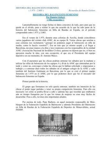 historia de baloncesto femenino - Federación Española de Deportes ...