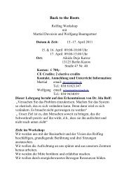 WS Back to the Roots April 2011 - What is Rolfing?