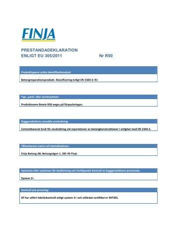 PRESTANDADEKLARATION ENLIGT EU 305/2011 Nr R50 - Finja