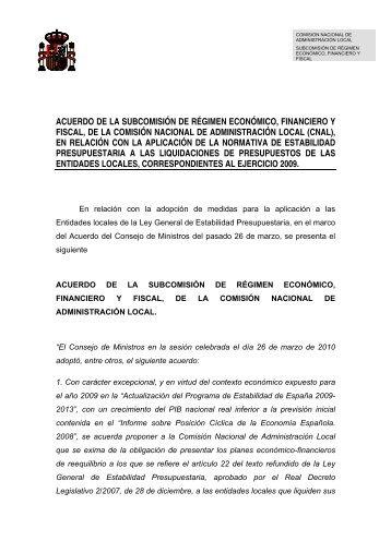 ACUERDO DE LA SUBCOMISIÓN DE RÉGIMEN ... - FEMP