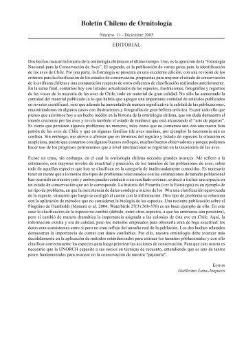 Boletín Chileno de Ornitología - Wildlife Ecology and Conservation ...