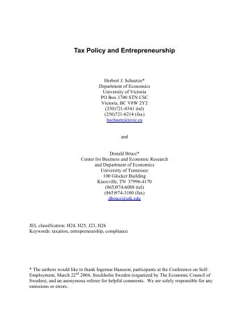 Tax Policy and Entrepreneurship - University of Victoria