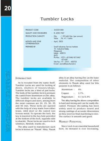 Tumbler Locks - Dc Msme