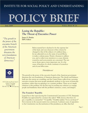 Policy Brief Template.indd - Institute for Social Policy and ...