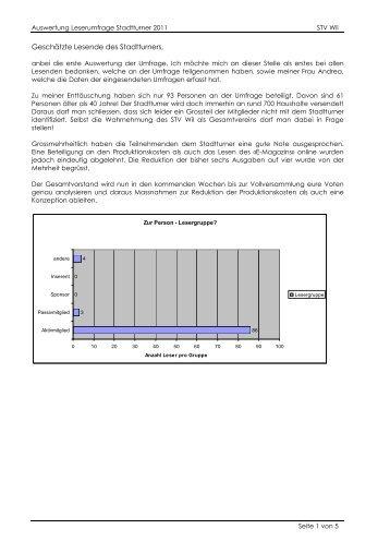 Auswertung Leserumfrage Stadtturner 2011