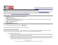 Business Division Assessment Plan - Casper College