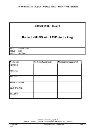 Radio In-fill FIS with LEU/Interlocking