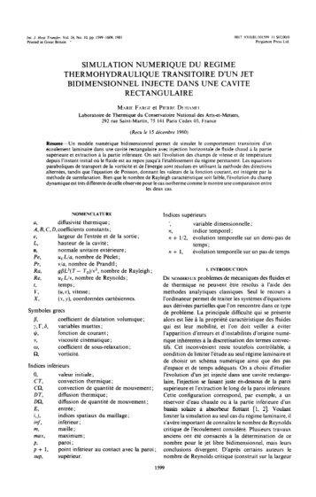 simulation numerique du regime thermohydraulique transitoire d'un ...