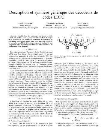 Description et synth`ese générique des décodeurs de codes LDPC