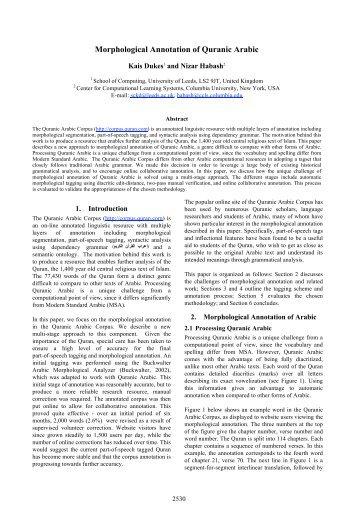 Morphological Annotation of Quranic Arabic - LEXiTRON