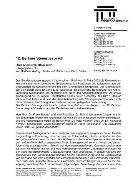 Tagungsbericht 12. Berliner Steuergespräch