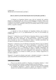 Regulamento do Curso de Mestrado do PEQ - peq / coppe / ufrj