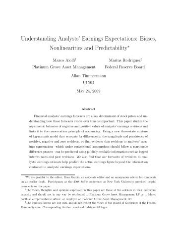 Understanding Analysts' Earnings Expectations - Rady School of ...