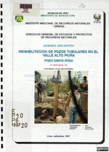 Rehabilitación de pozos tubulares en el valle Alto Piura - Autoridad ...