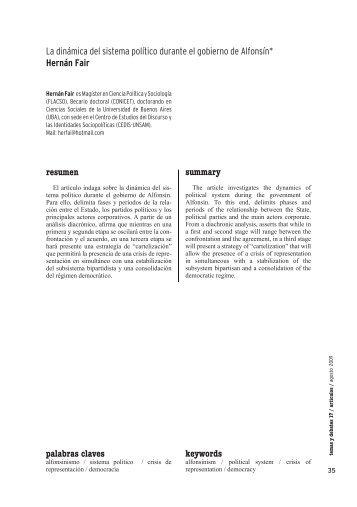 La dinámica del sistema político durante el gobierno de Alfonsín ...