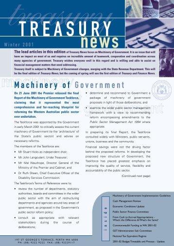 Winter 2001 - Department of Treasury