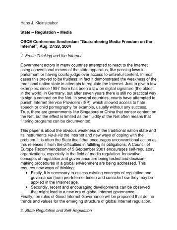 Hans J. Kleinsteuber State – Regulation – Media OSCE Conference ...