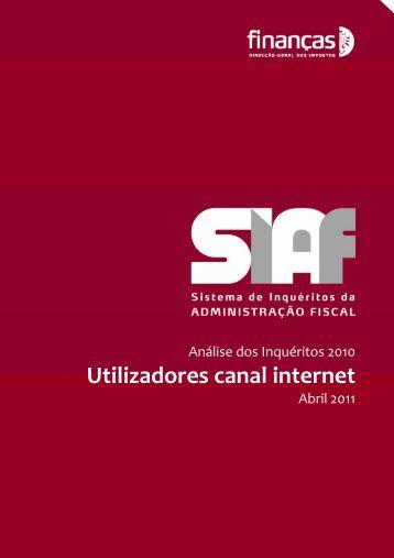 Utilizadores canal internet - Portal das Finanças